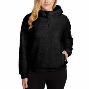 Lukka Lux Ladie' Cozy Sherpa Fleece Hoodie Black